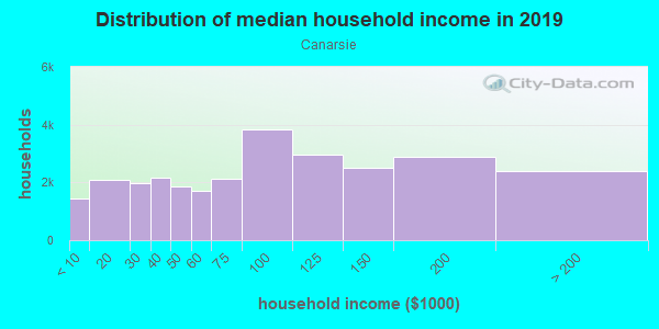 Household income distribution in 2013 in Canarsie in Brooklyn neighborhood in NY