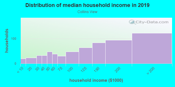 Household income distribution in 2013 in Collins View in Portland neighborhood in OR