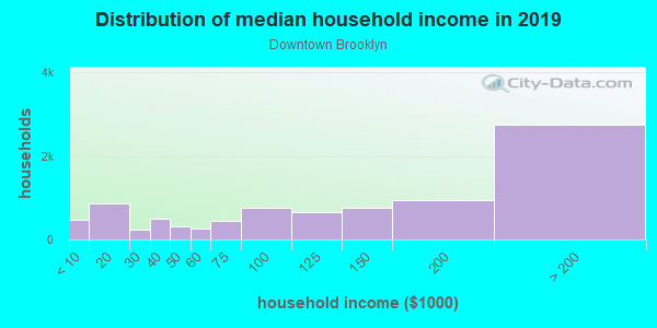 Household income distribution in 2013 in Downtown Brooklyn in Brooklyn neighborhood in NY