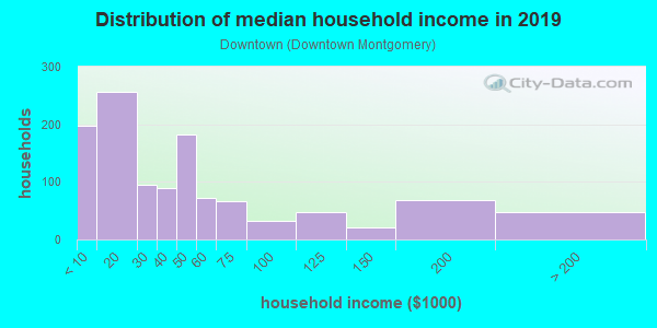 Household income distribution in 2013 in Downtown in Montgomery neighborhood in AL