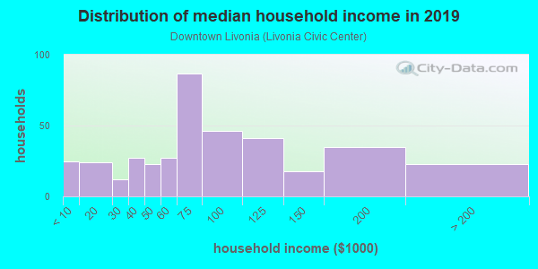 Household income distribution in 2013 in Downtown Livonia in Livonia neighborhood in MI