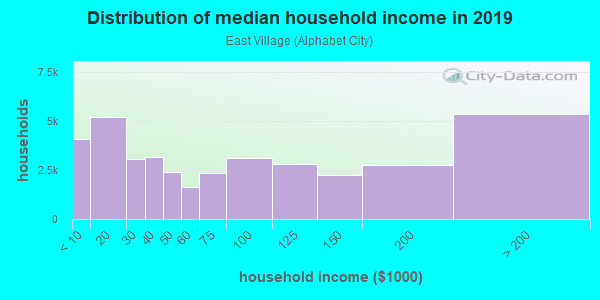 Household income distribution in 2013 in East Village in New York neighborhood in NY