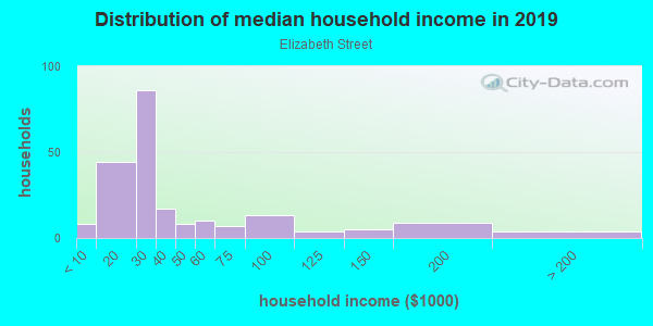 Household income distribution in 2013 in Elizabeth Street in Lexington neighborhood in KY