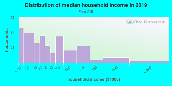 Household income distribution in 2013 in Fern Cliff in Tampa neighborhood in FL