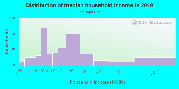 Household income distribution in 2013 in Foresight Park in Grand Junction neighborhood in CO