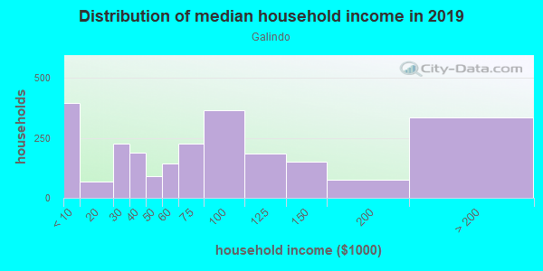 Household income distribution in 2013 in Galindo in Austin neighborhood in TX