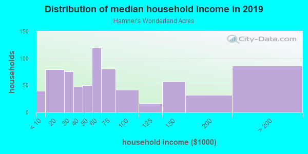 Household income distribution in 2013 in Hamner's Wonderland Acres in Lutz neighborhood in FL