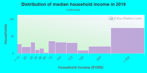 Household income distribution in 2013 in Hollindale in Alexandria neighborhood in VA