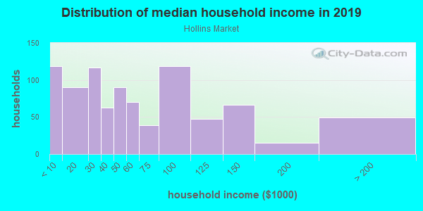 Household income distribution in 2013 in Hollins Market in Baltimore neighborhood in MD