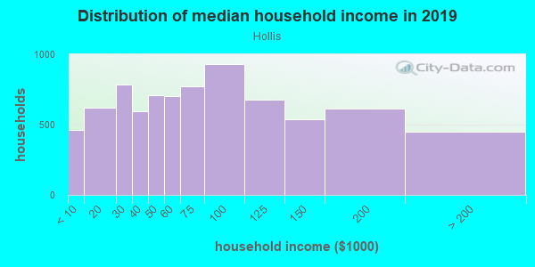 Household income distribution in 2013 in Hollis in Hollis neighborhood in NY