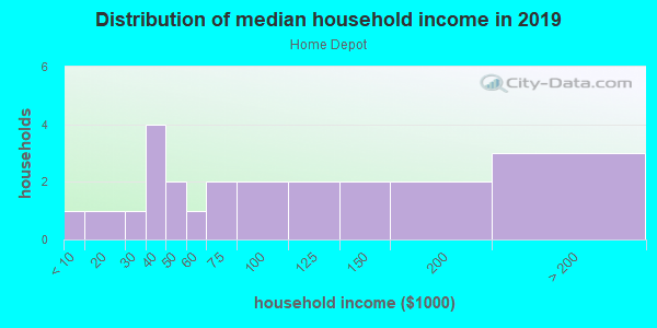 Household income distribution in 2013 in Home Depot in Fort Myers neighborhood in FL