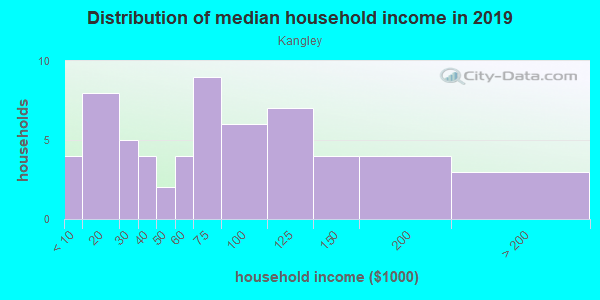 Household income distribution in 2013 in Kangley in Streator neighborhood in IL
