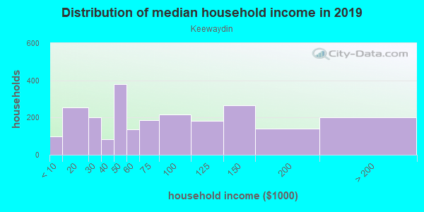 Household income distribution in 2013 in Keewaydin in Minneapolis neighborhood in MN