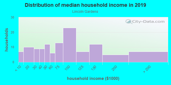 Household income distribution in 2013 in Lincoln Gardens in Tampa neighborhood in FL