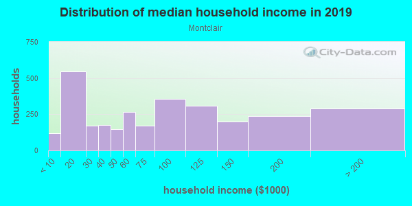 Household income distribution in 2013 in Montclair in Denver neighborhood in CO