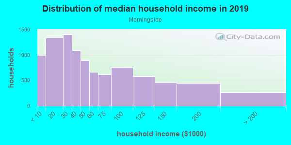Household income distribution in 2013 in Morningside in Detroit neighborhood in MI