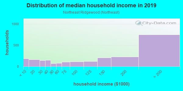 Household income distribution in 2013 in Northeast Ridgewood in Ridgewood neighborhood in NJ