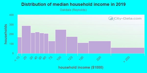 Household income distribution in 2013 in Oakdale in Johnson City neighborhood in NY