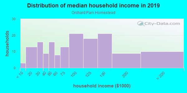 Household income distribution in 2013 in Orchard Park Homestead in Washougal neighborhood in WA