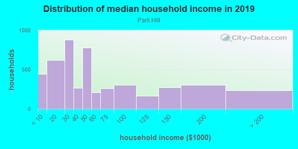 Household income distribution in 2013 in Park Hill in Staten Island neighborhood in NY