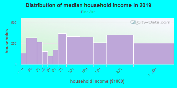 Household income distribution in 2013 in Pine Aire in Bay Shore neighborhood in NY