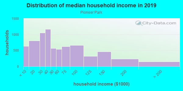 Household income distribution in 2013 in Pioneer Park in Las Vegas neighborhood in NV