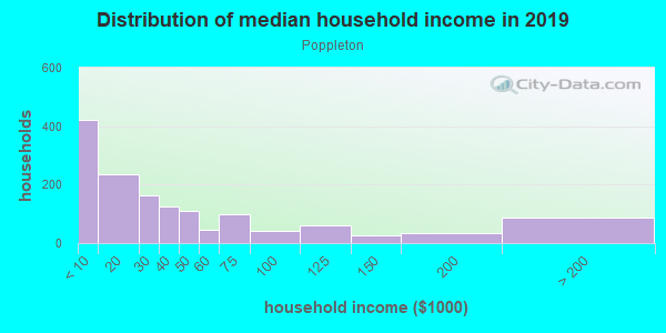 Household income distribution in 2013 in Poppleton in Baltimore neighborhood in MD