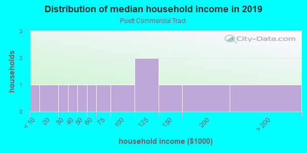 Household income distribution in 2013 in Puett Commercial Tract in Round Rock neighborhood in TX
