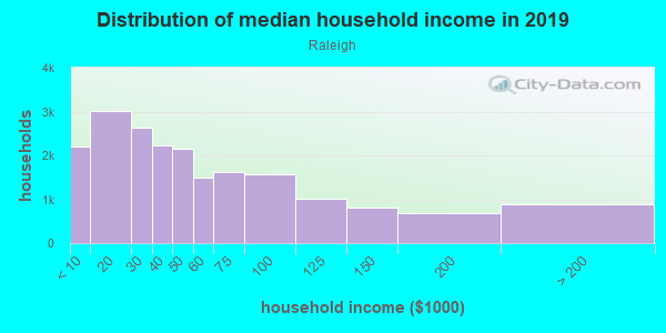 Household income distribution in 2013 in Raleigh in Memphis neighborhood in TN