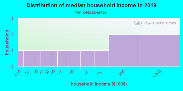 Household income distribution in 2013 in Reynolds Mountain in Asheville neighborhood in NC