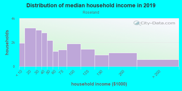 Household income distribution in 2013 in Roseland in Chicago neighborhood in IL