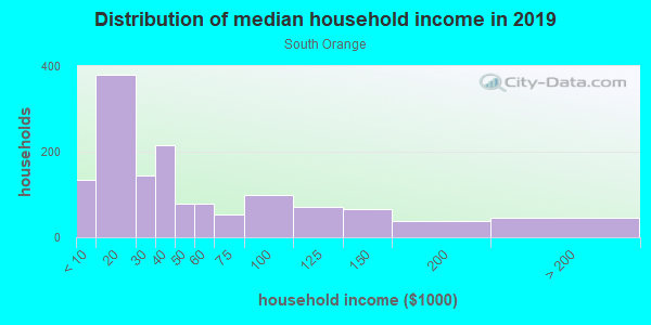 Household income distribution in 2013 in South Orange in Orlando neighborhood in FL