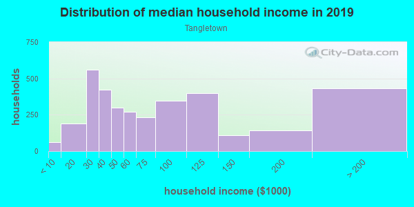 Household income distribution in 2013 in Tangletown in Minneapolis neighborhood in MN