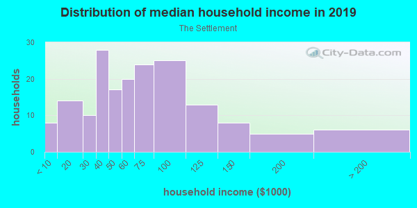 Household income distribution in 2013 in The Settlement in Round Rock neighborhood in TX