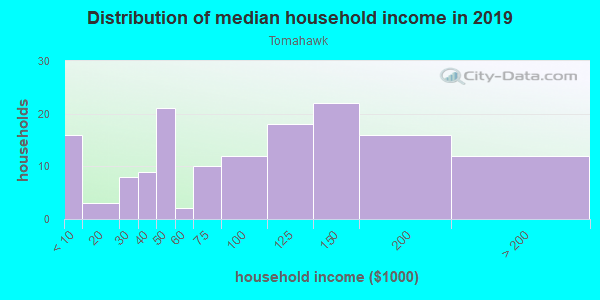 Household income distribution in 2013 in Tomahawk in Woodstock neighborhood in GA