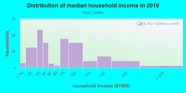 Household income distribution in 2013 in Town Center in Woodridge neighborhood in IL