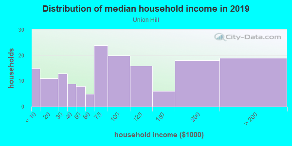 Household income distribution in 2013 in Union Hill in Kansas City neighborhood in MO