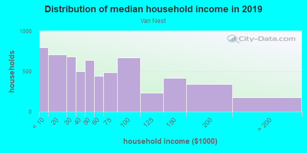 Household income distribution in 2013 in Van Nest in Bronx neighborhood in NY