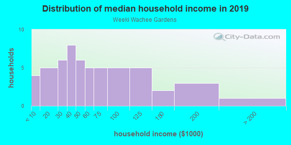Household income distribution in 2013 in Weeki Wachee Gardens in Spring Hill neighborhood in FL