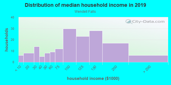 Household income distribution in 2013 in Wendell Falls in Wendell neighborhood in NC