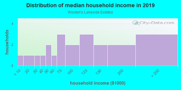 Household income distribution in 2013 in Wooten's Lakeside Estates in Lutz neighborhood in FL