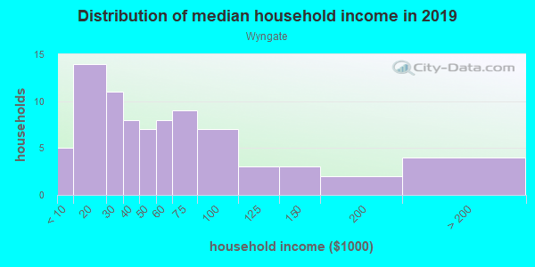 Household income distribution in 2013 in Wyngate in Lutz neighborhood in FL