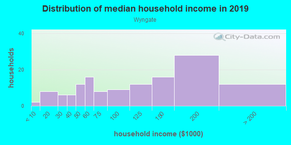 Household income distribution in 2013 in Wyngate in Woodstock neighborhood in GA