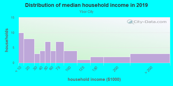 Household income distribution in 2013 in Ybor City in Tampa neighborhood in FL