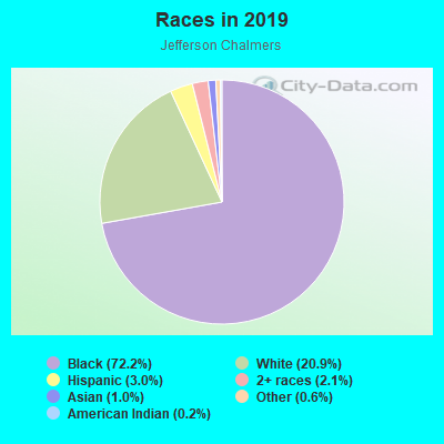 Races in Jefferson Chalmers in Detroit neighborhood in MI