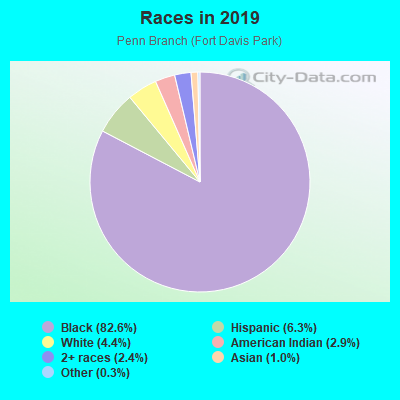 Races in Penn Branch in Washington neighborhood in DC