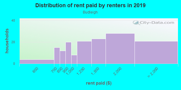 Rent paid by renters in 2013 in Budleigh in Raleigh neighborhood in NC
