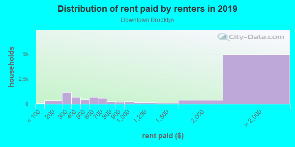 Rent paid by renters in 2013 in Downtown Brooklyn in Brooklyn neighborhood in NY