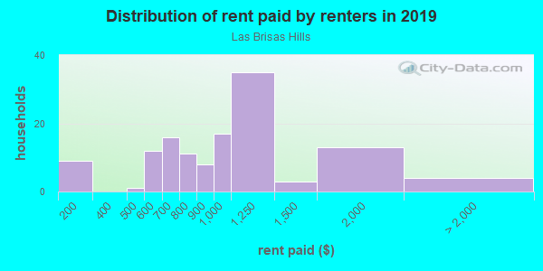 Rent paid by renters in 2013 in Las Brisas Hills in Irving neighborhood in TX