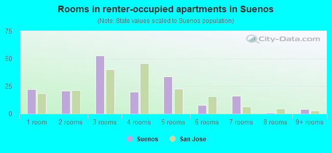Rooms in renter-occupied apartments in Suenos